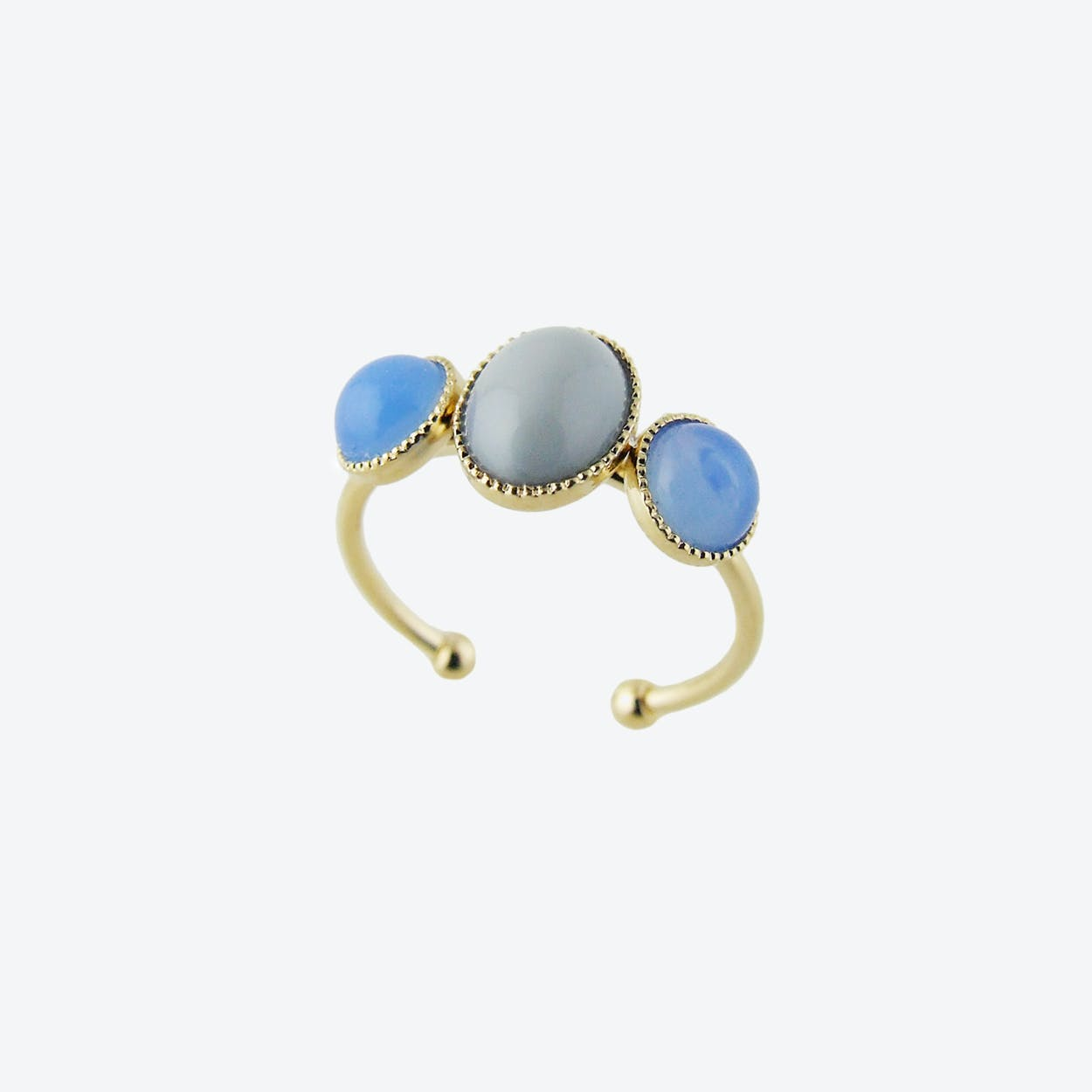 Gold Cabochons Ring in Grey and Blue