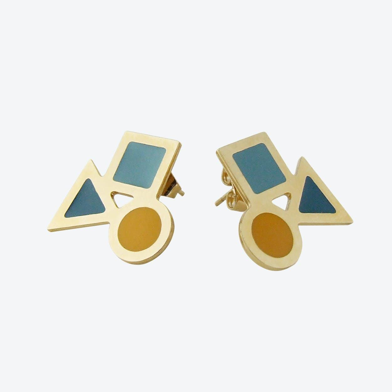 Big Geometric Stud Earrings in Emerald Duck Egg and Mustard