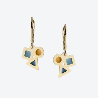 Tiny Geometric Earrings in Emerald Duck Egg and Mustard