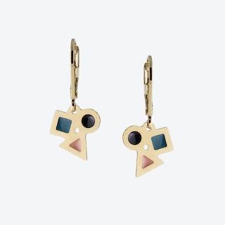 Tiny Geometric Earrings in Black Blush and Emerald
