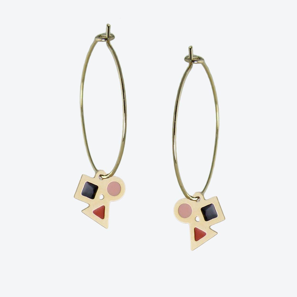 Delicate Geometric Hoop Earrings in Black, Blush Pink, and Rust