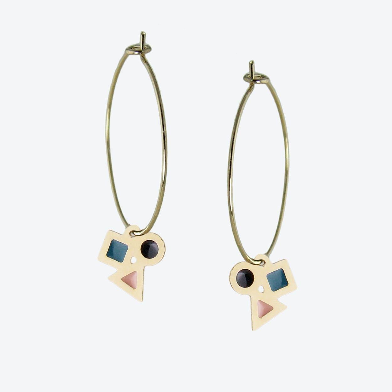 Delicate Geometric Hoop Earrings in Black, Blush Pink, and Emerald