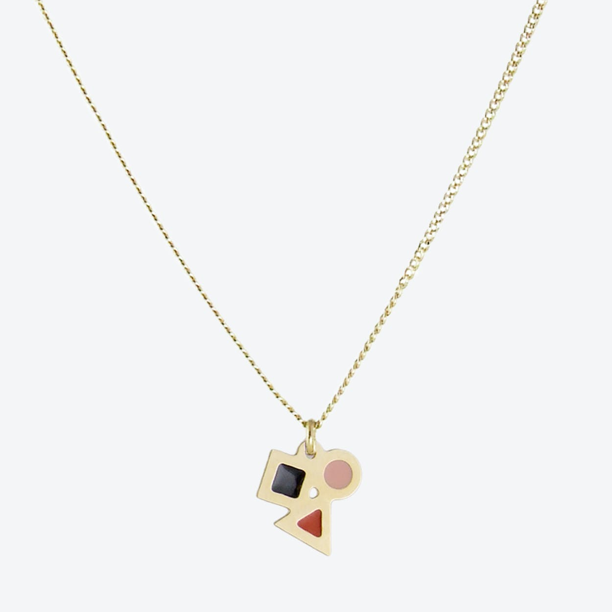 Tiny Geometric Pendant Necklace in Black, Blush, and Rust