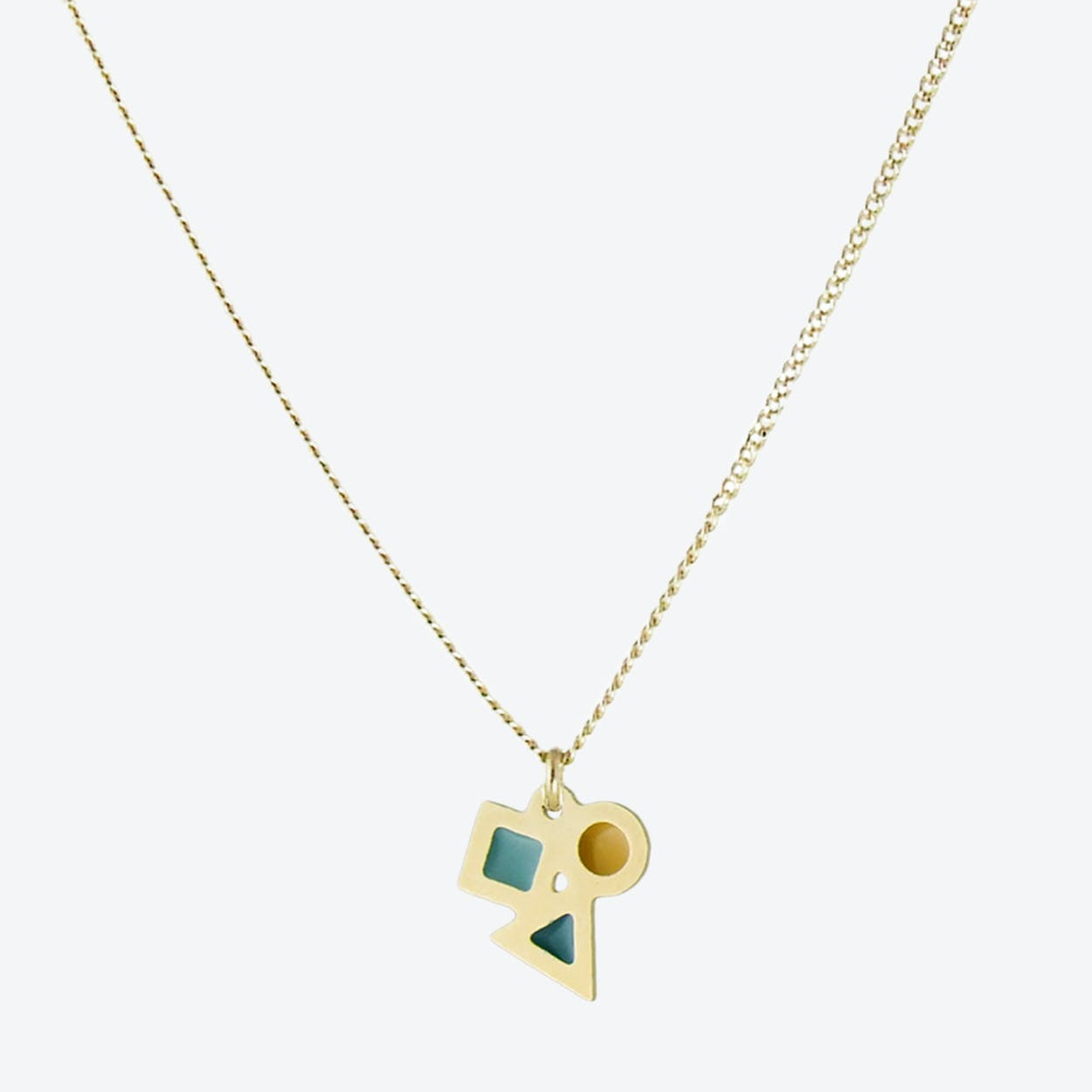 Tiny Geometric Pendant Necklace in Emerald, Duck Egg, and Mustard