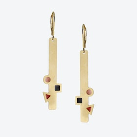 Geometric Gold Bar Earrings in Black, Blush, and Rust