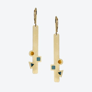 Geometric Gold Bar Earrings in Emerald, Duck Egg, and Mustard