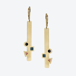 Geometric Gold Bar Earrings in Emerald, Black, and Blush