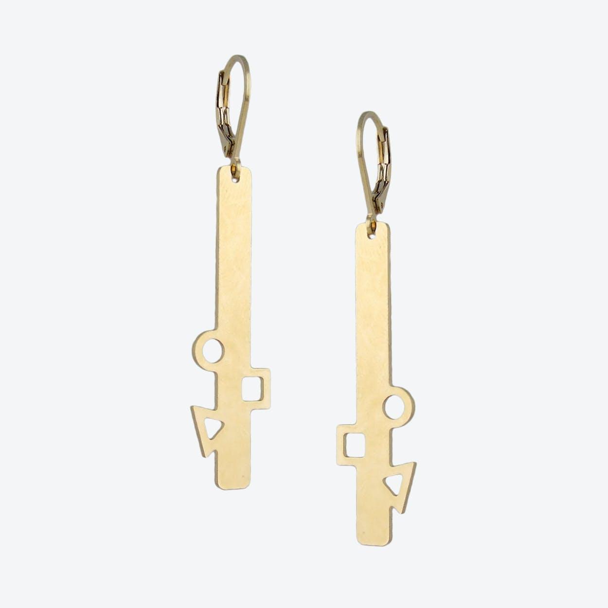 Geometric Gold Bar Earrings