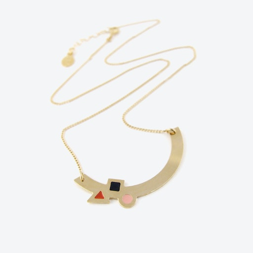 Geometric Gold Arc Necklace in Black, Blush, and Rust