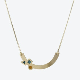Geometric Gold Arc Necklace in Emerald, Duck Egg, and Mustard