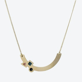 Geometric Gold Arc Necklace in Emerald, Blush, and Black