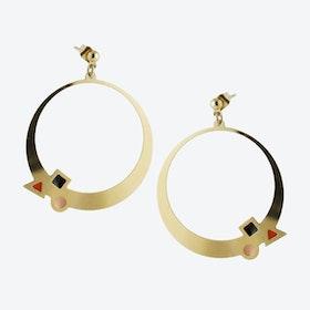 Geometric Gold Hoop Earrings in Black, Blush, and Rust