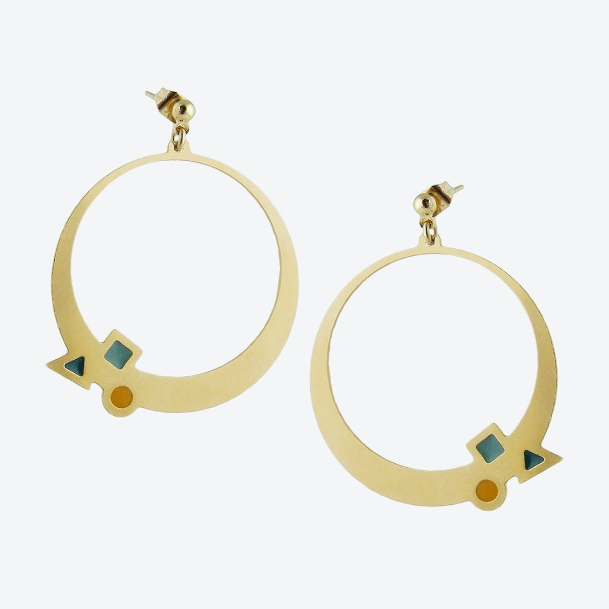 Geometric Gold Hoop Earrings in Emerald, Duck Egg, and Mustard