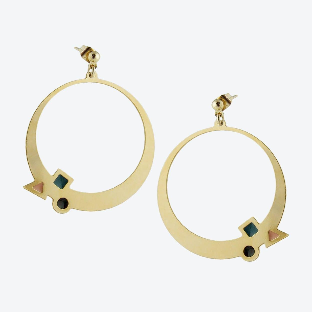 Geometric Gold Hoop Earrings in Emerald, Black, and Blush