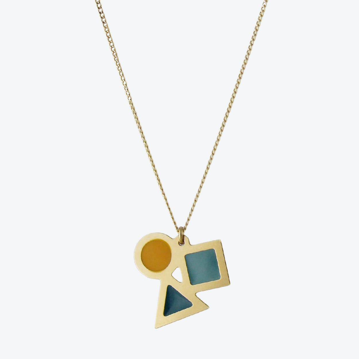 Geometric Shapes Necklace in Emerald, Duck Egg, and Mustard