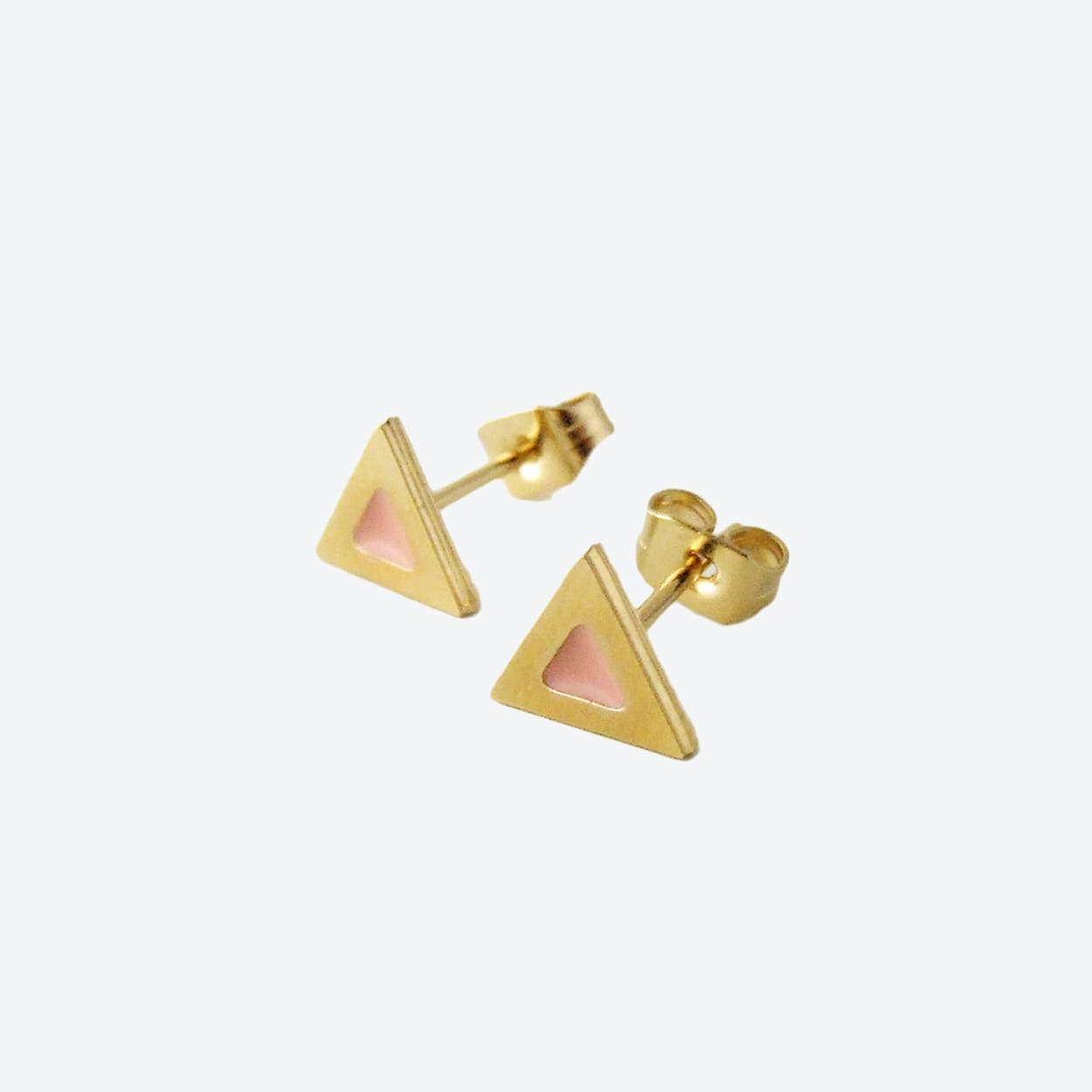 Tiny Triangle Stud Earrings in Blush Pink