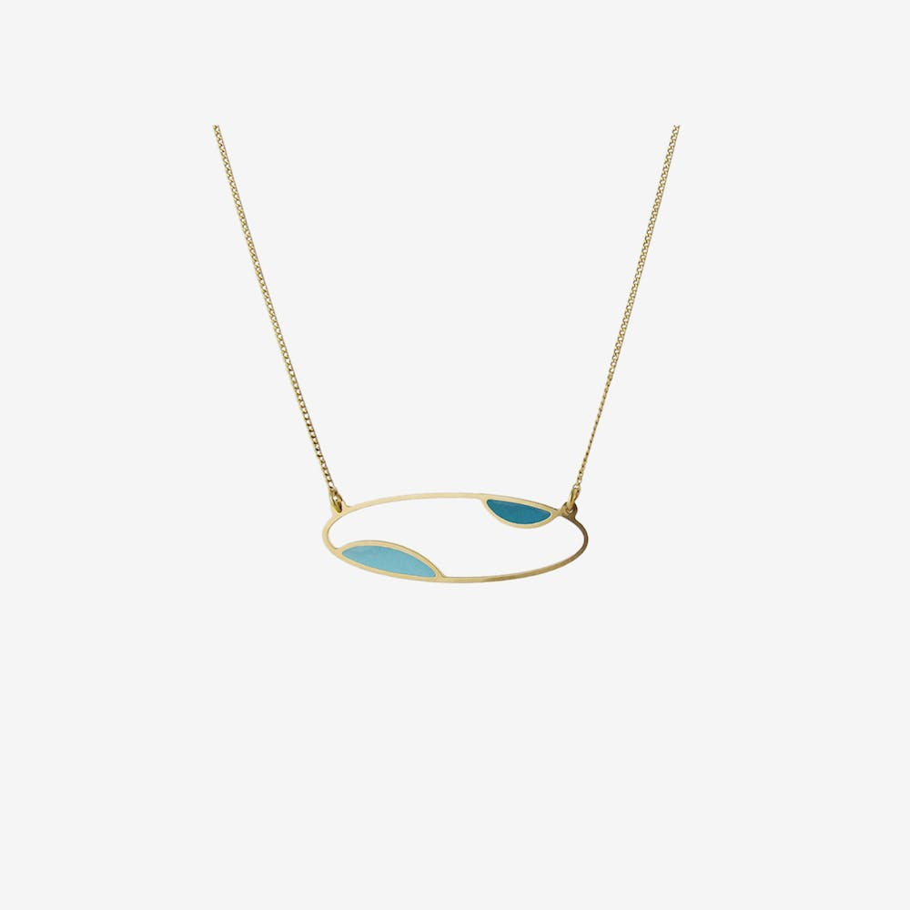 Delicate Gold Oval Two Tone Necklace in Duck Egg and Emerald