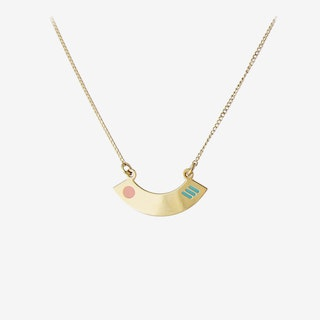 Miami Gold Pendant Necklace in Turquoise and Blush