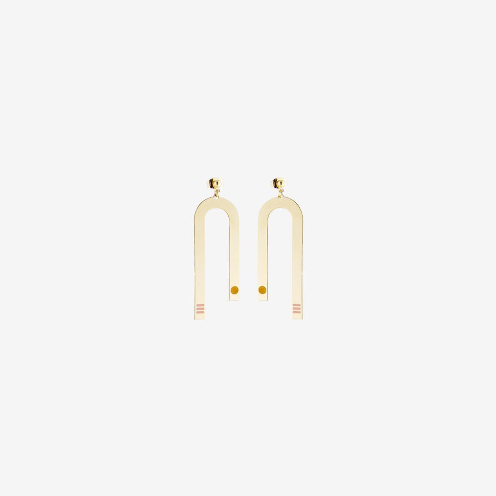 Miami Inspired Earrings in Blush and Mustard