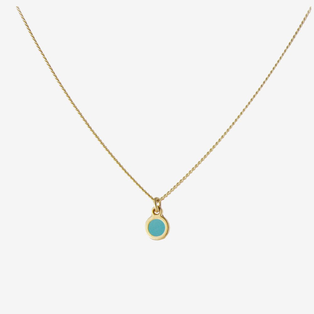 Minimal Gold Dot Necklace in Turquoise