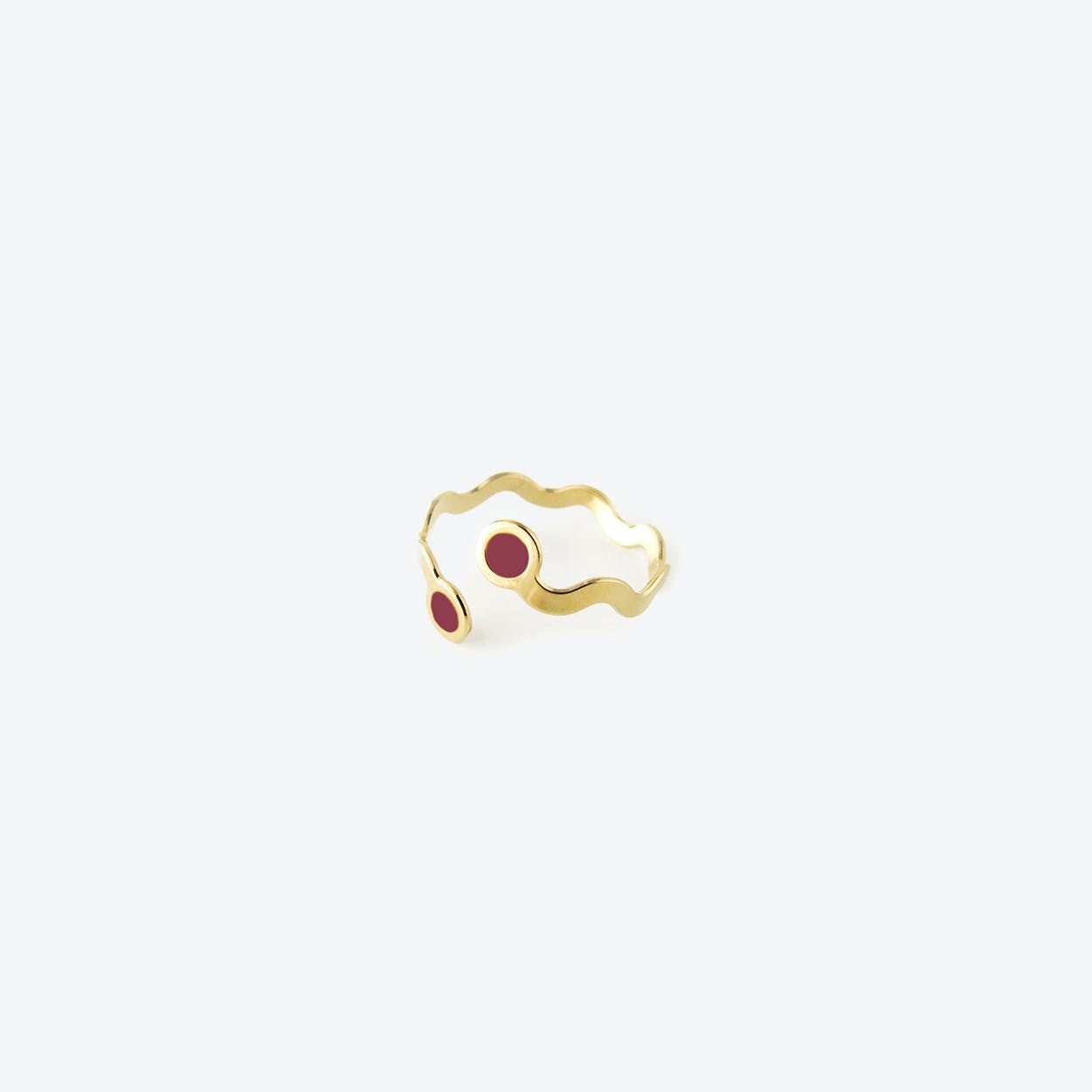 Wavy Gold Ring - Raspberry