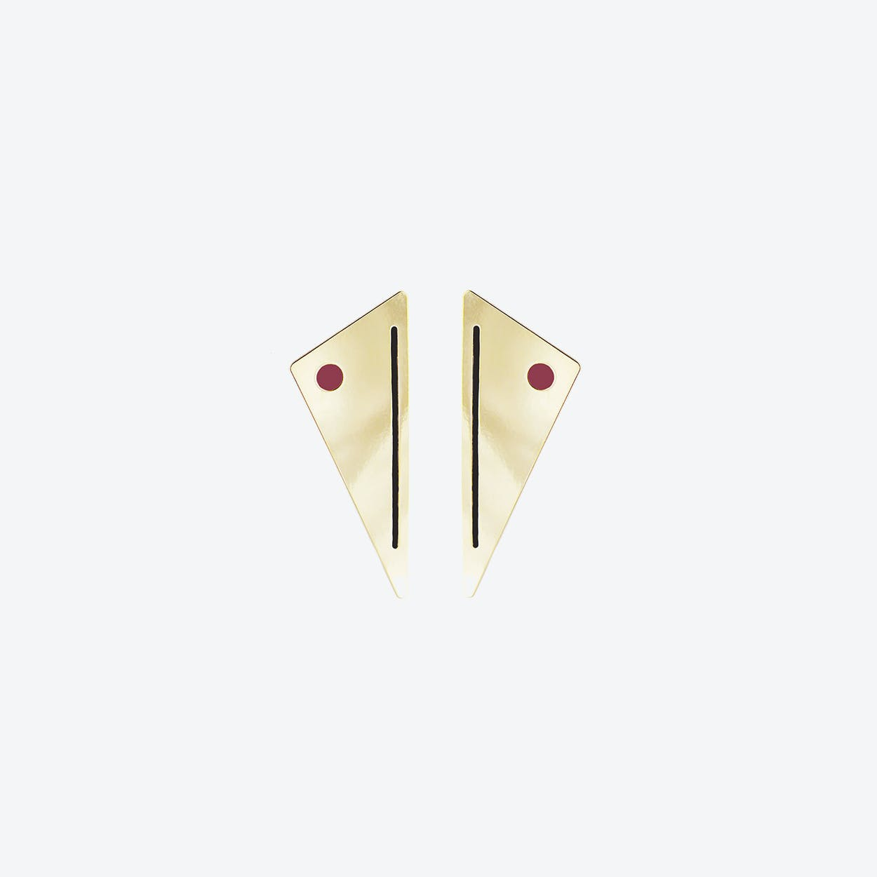 Miami Art Deco Earrings - Raspberry & Black