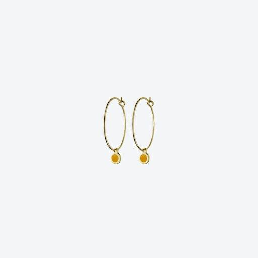 Minimal Dot Hoop Earrings - Saffron