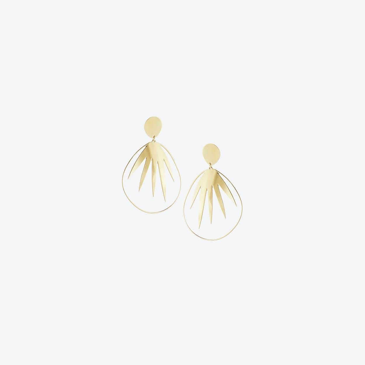 Palm Leaf Statement Earrings