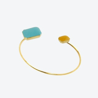 Gold Octagons Open Bangle in Blue and Light Teal