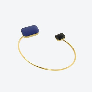 Gold Octagons Open Bangle in Navy and Black