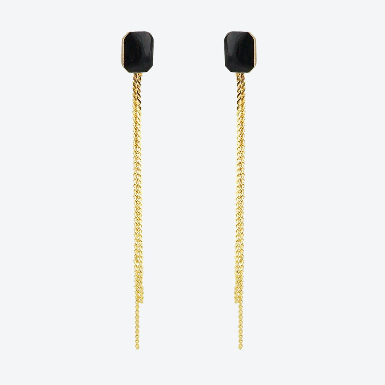 Gold Plated Octagon Stud and Chain Earrings in Black