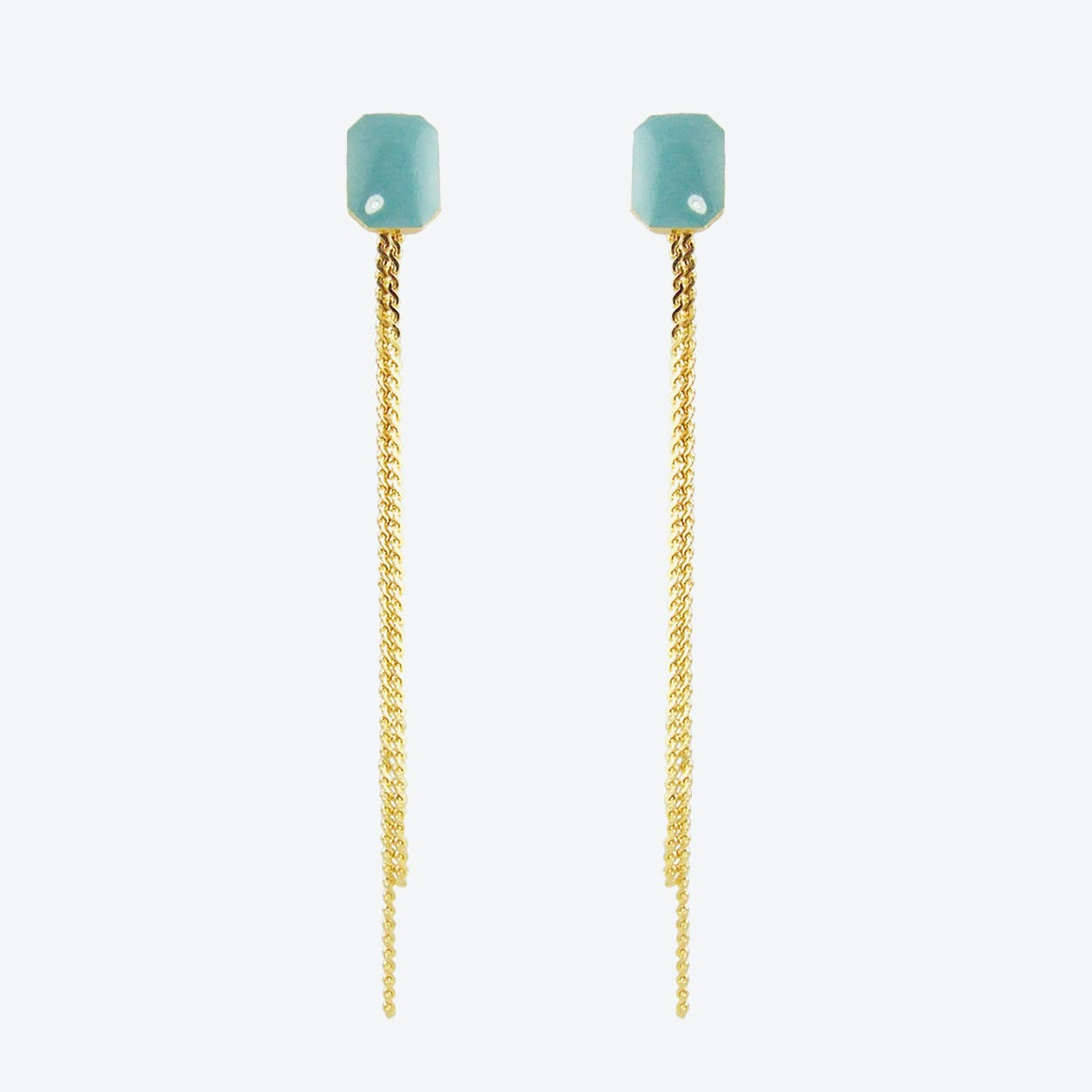 Gold Plated Octagon Stud and Chain Earrings in Duck Egg