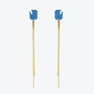 Gold Plated Octagon Stud and Chain Earrings in Blue