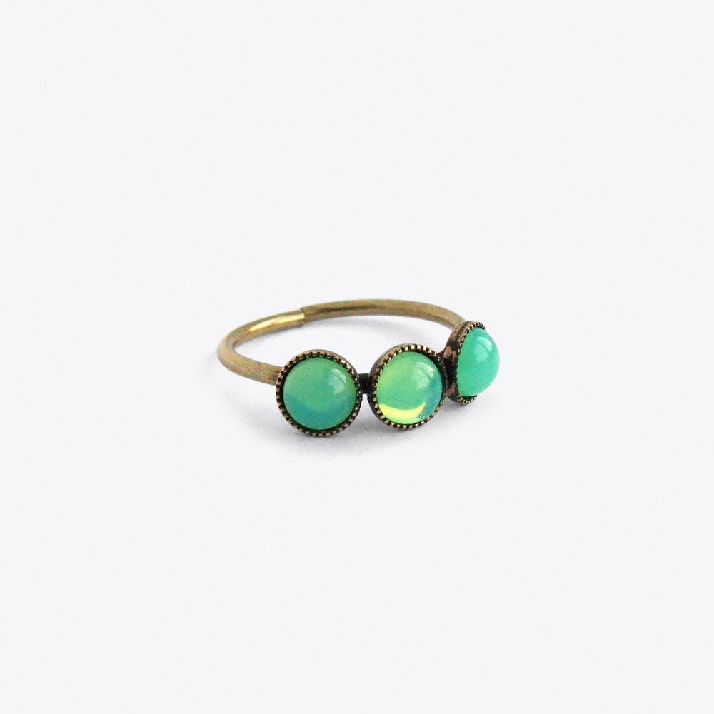 Three Cabs Ring in Green Opal