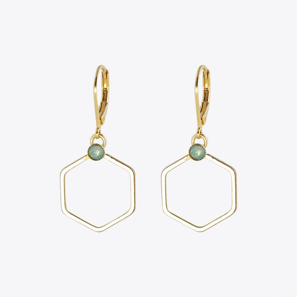 Small Gold Hexagon Earrings with Pacific Opal Stone