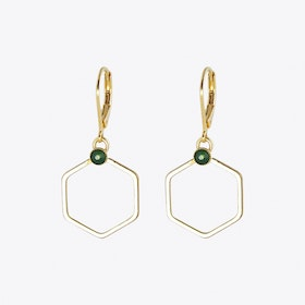 Small Gold Hexagon Earrings with Green Opal Stone