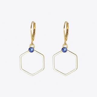 Small Gold Hexagon Earrings with Sapphire Stone