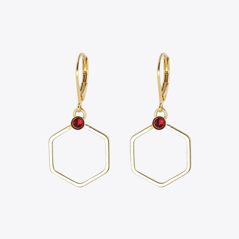 Small Gold Hexagon Earrings with Red Stone