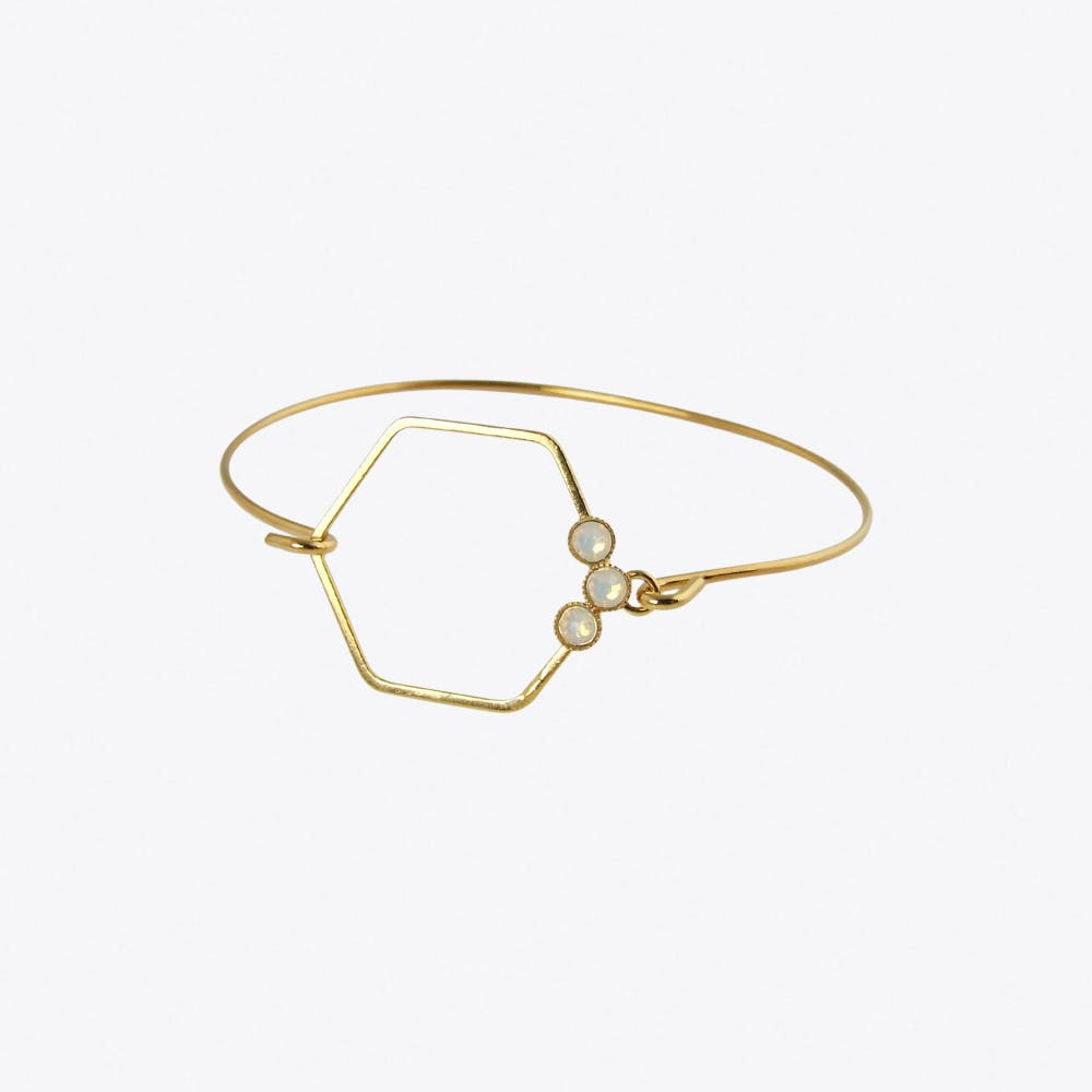 Delicate Gold Hexagon Bracelet with White Opal