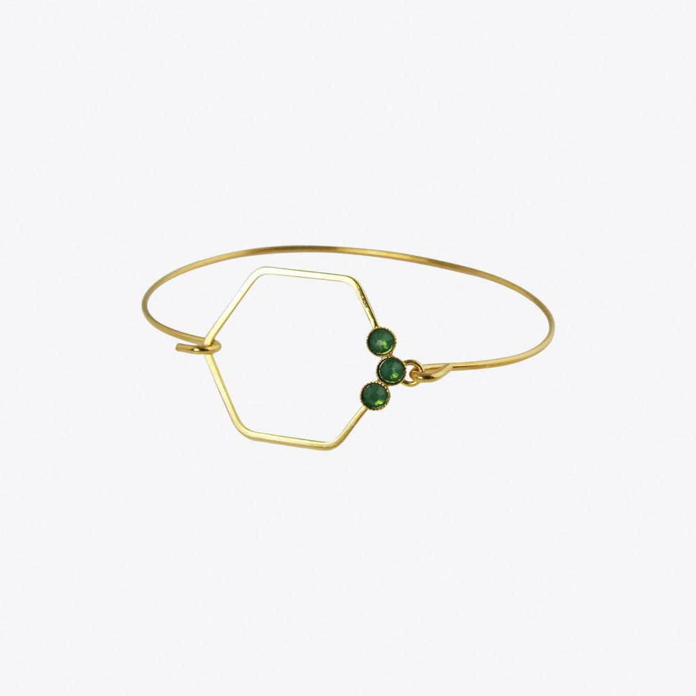 Delicate Gold Hexagon Bracelet in Green Opal