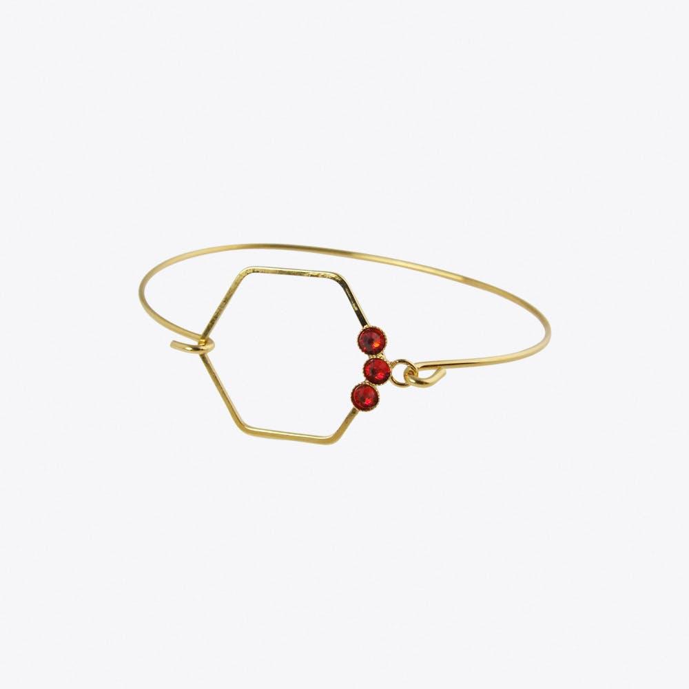Delicate Gold Hexagon Bracelet Red