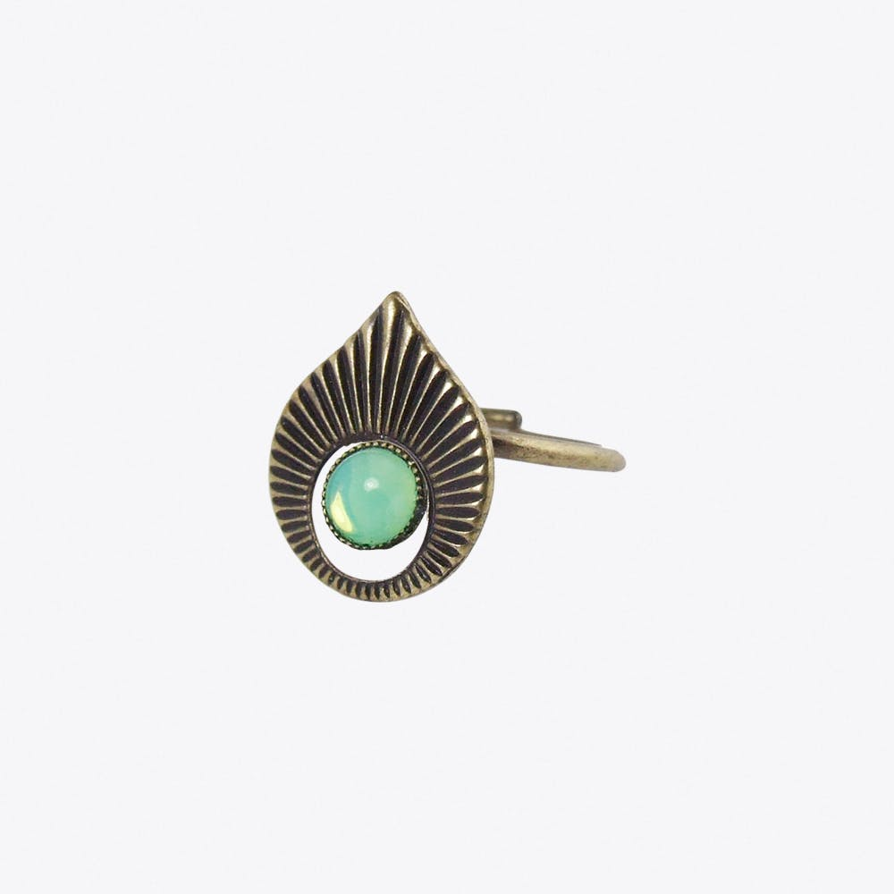 Art Deco Style Pastel Ring with Mint Opal