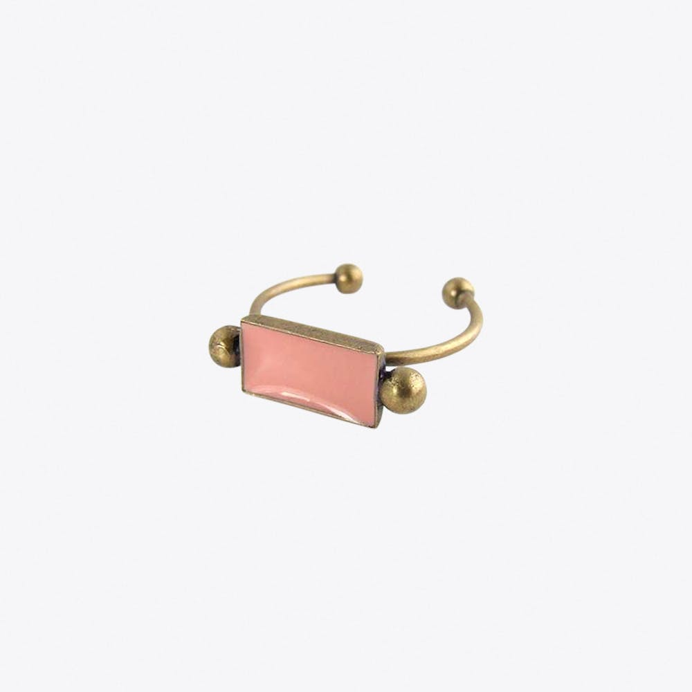 Antiqued Brass Bar Ring in Blush