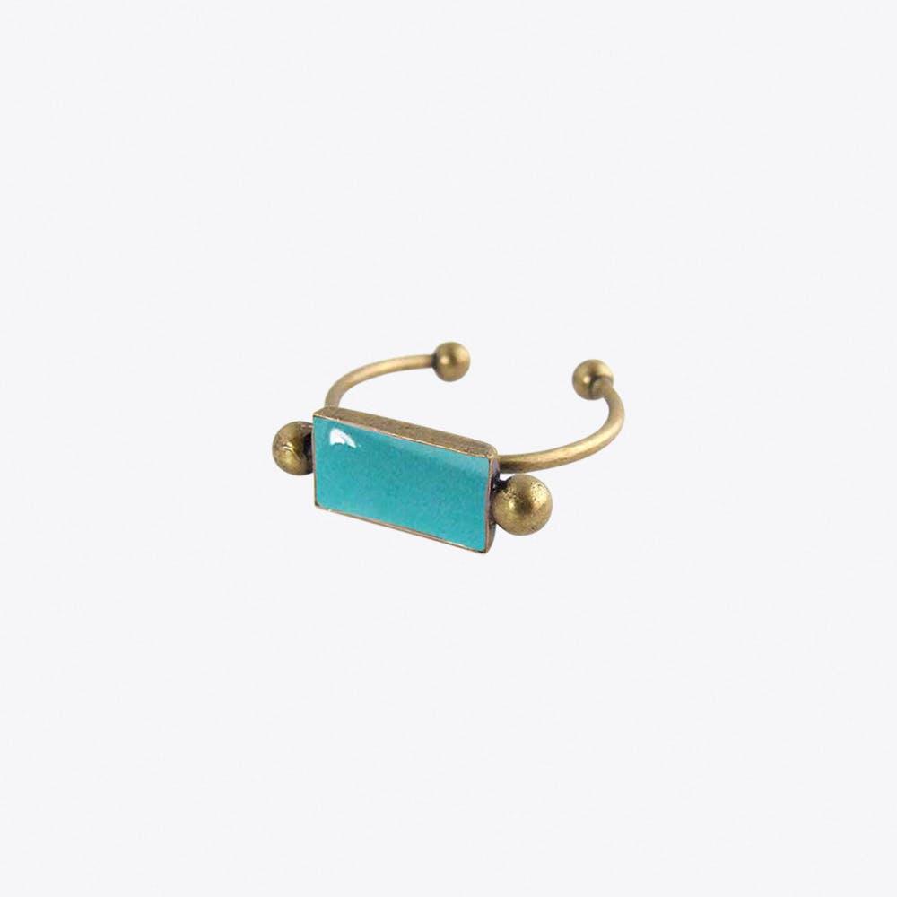 Antiqued Brass Bar Ring in Light Teal