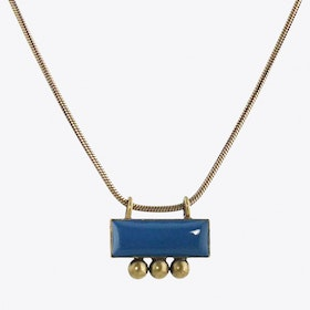 Antiqued Brass Enamelled Necklace in Montana