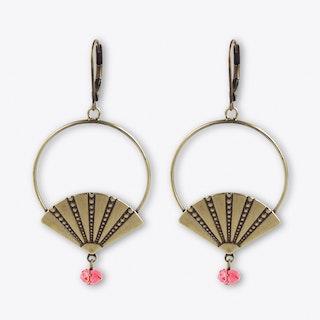 Art Deco Style Fan Hoop Earrings in Pink Coral