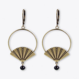 Art deco style fan hoop earrings in black