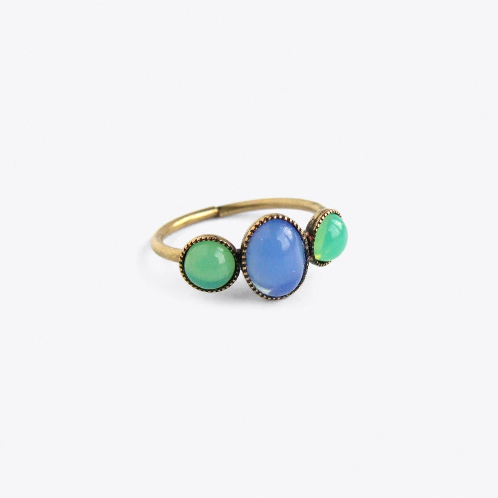Cabochons Ring in Blue and Green