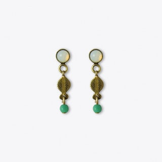 Primavera Stud Earrings in White and Green
