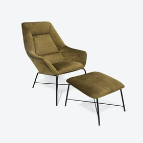 Green Adele Armchair w/ Footstool